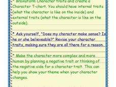 Use a t-chart to plan external and internal traits for your character.