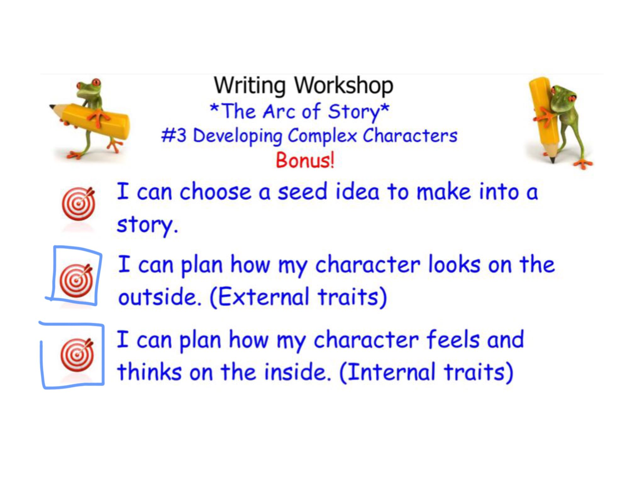 Step by step directions on creating character traits.