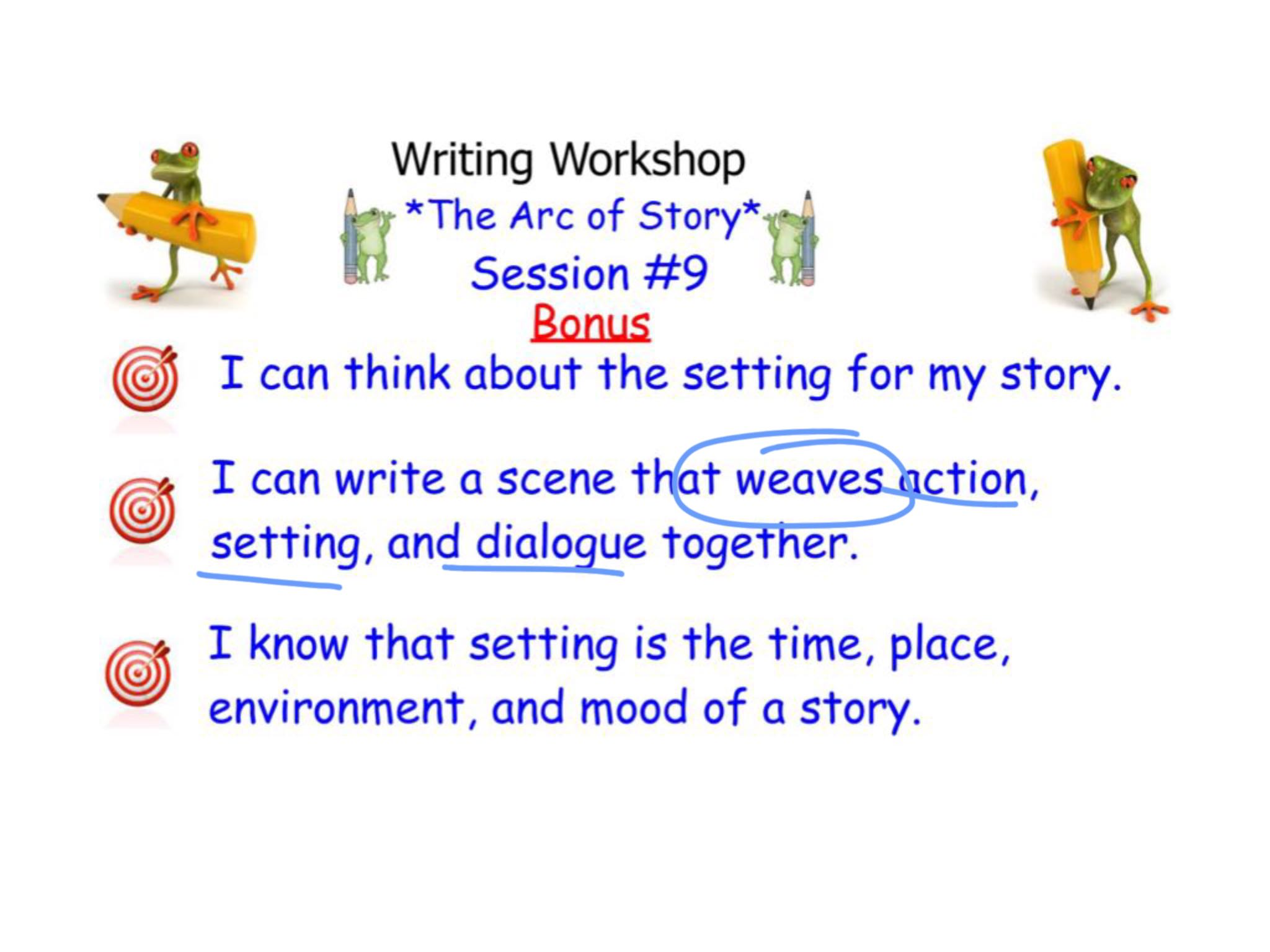 I will write some action, dialogue and setting description step by step so you see how it's done!